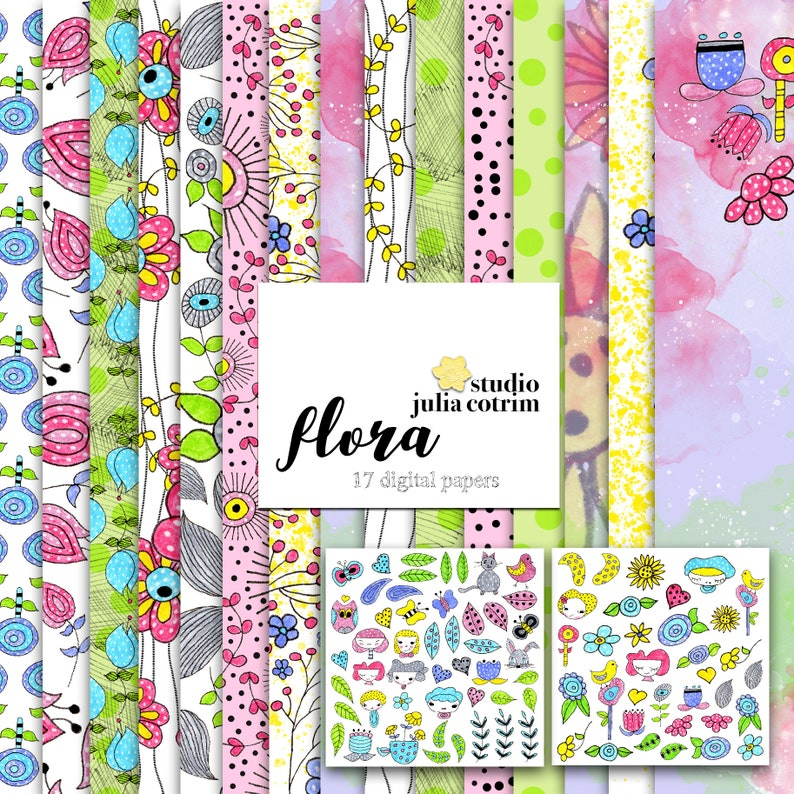 Flora Printable Paper Pack    Scrapbook Paper  Printable image 0