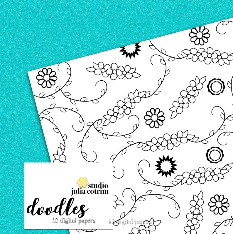 Doodles Printable Paper Pack  Scrapbook Paper  Printable image 3