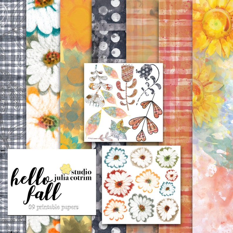Hello Fall Printable Paper Pack  Scrapbook Paper  Printable image 0