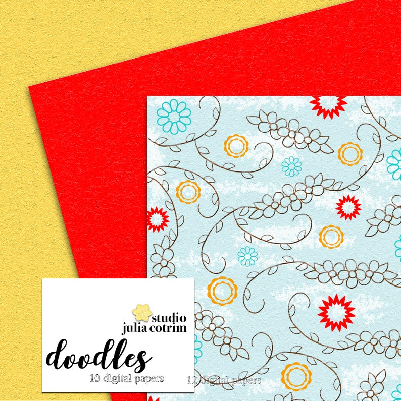 Doodles Printable Paper Pack  Scrapbook Paper  Printable image 2