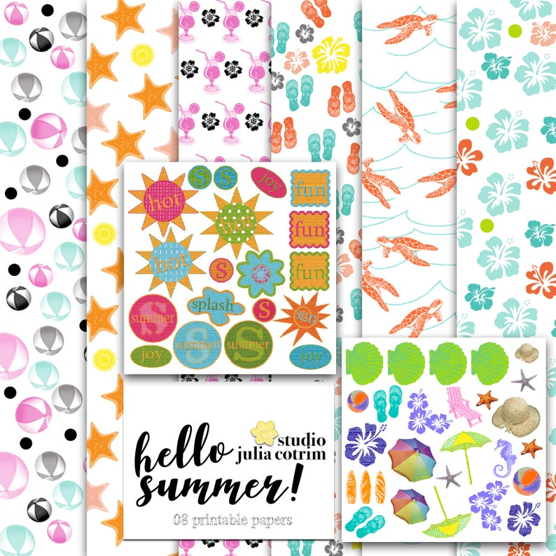 Hello Summer Printable Paper Pack  Scrapbook Paper  image 0