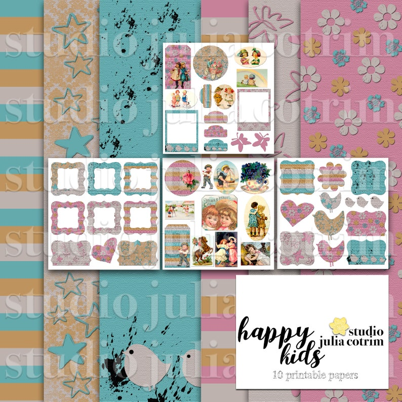 Happy Kids Printable Paper Pack  Scrapbook Paper  Printable image 0