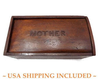 "Antique Walnut Candle Box, Lid Carved With ""Mother,"" Dovetailed                           and Chamfered, Hand Made in the 1800s"