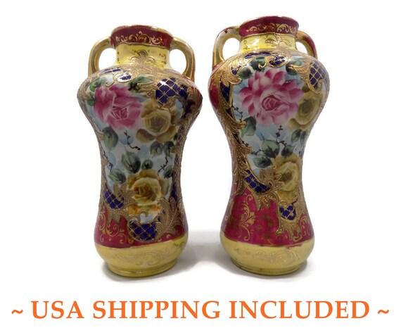 Antique Pair Nippon Era Japanese Vases Meiji Period Hand Etsy