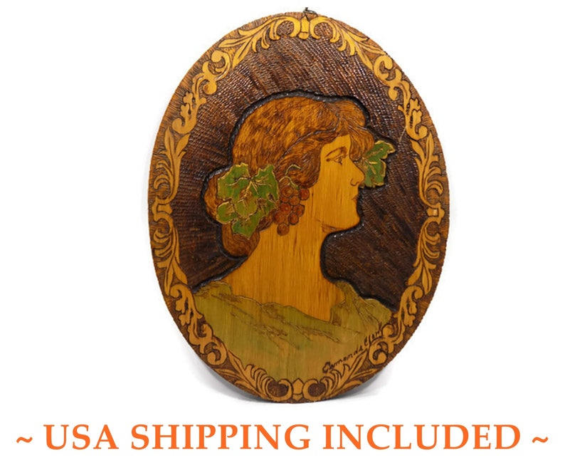 Antique Edwardian Pyrography Portrait of a Gibson Girl Signed