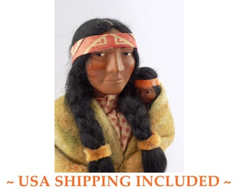 Vintage 1940s SKOOKUM DOLL, 12.5 Inches Tall, Mother With Baby               -- Bully Good Label, Excellent Condition