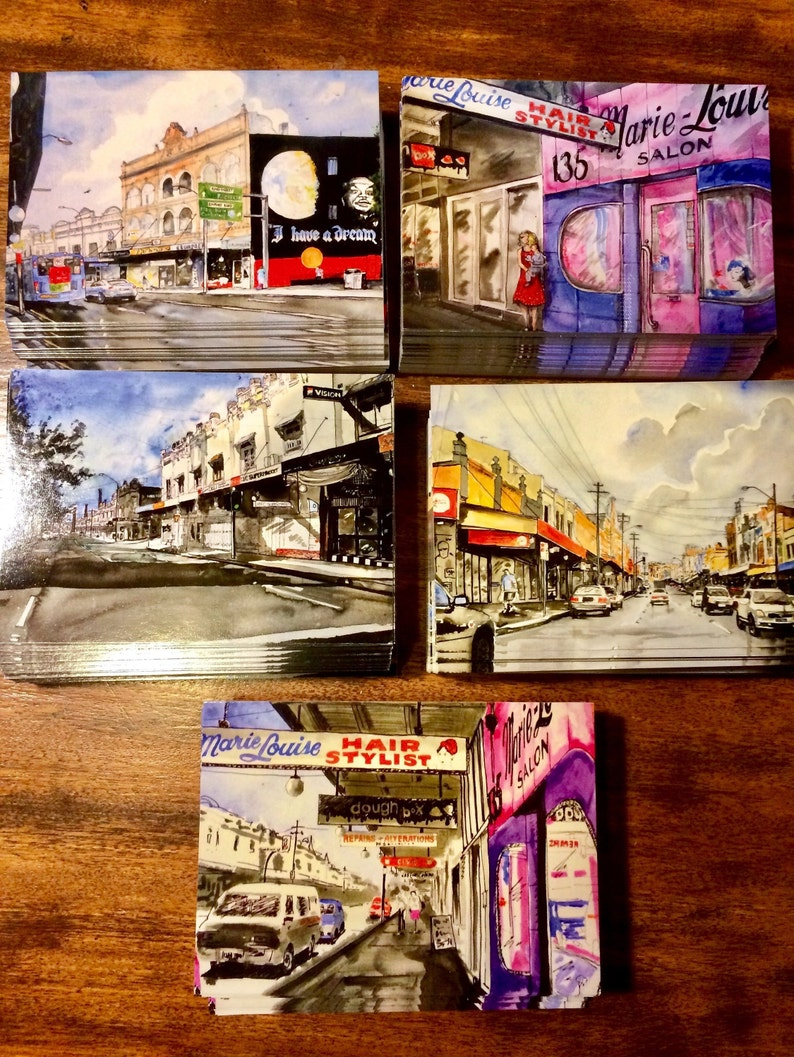 Newtown NSW Urban Streetscapes Set of 5 Postcards with image 0