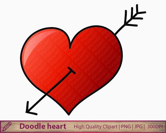 Doodle Heart Clipart Hand Drawn Heart Clip Art Cute Love Etsy