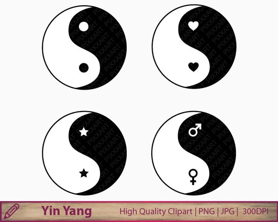 Yin Yang Clipart Chinese Philosophy Clip Art Karma Harmony Etsy