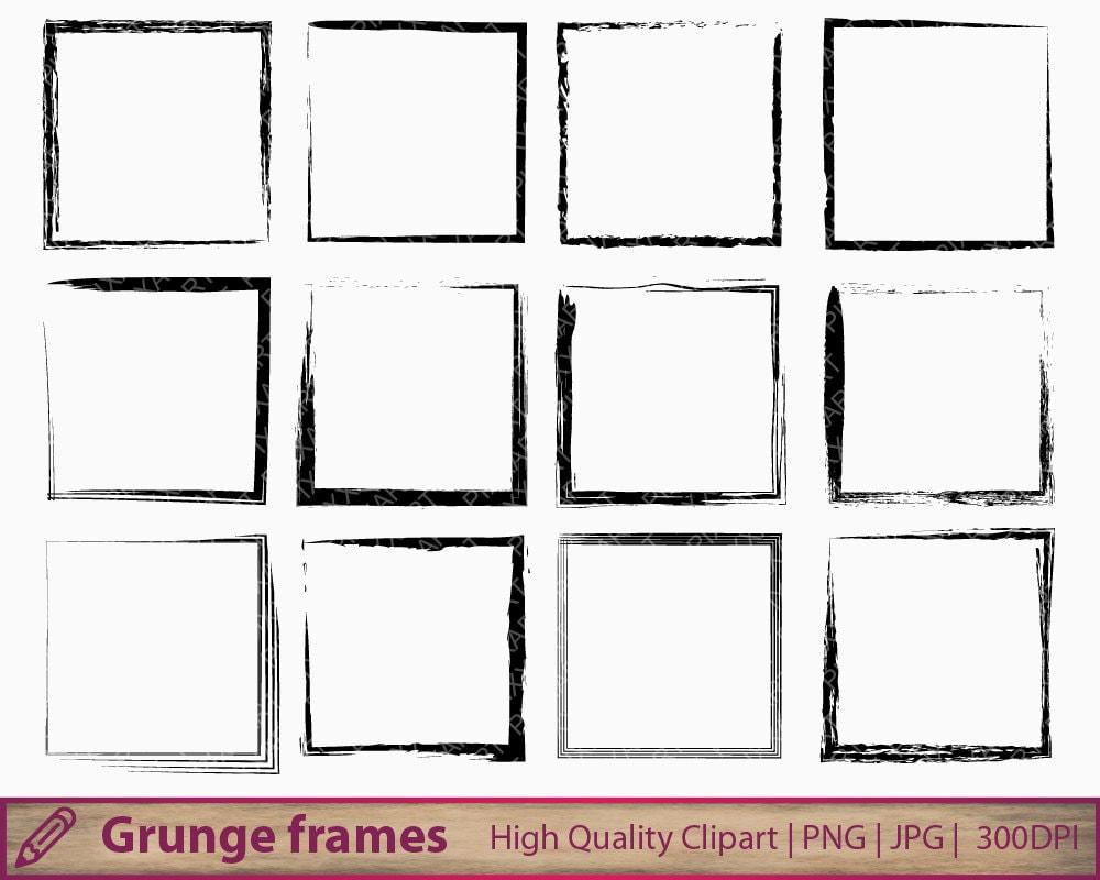 Grunge marco clipart prediseñadas apenado marco cuadrado   Etsy