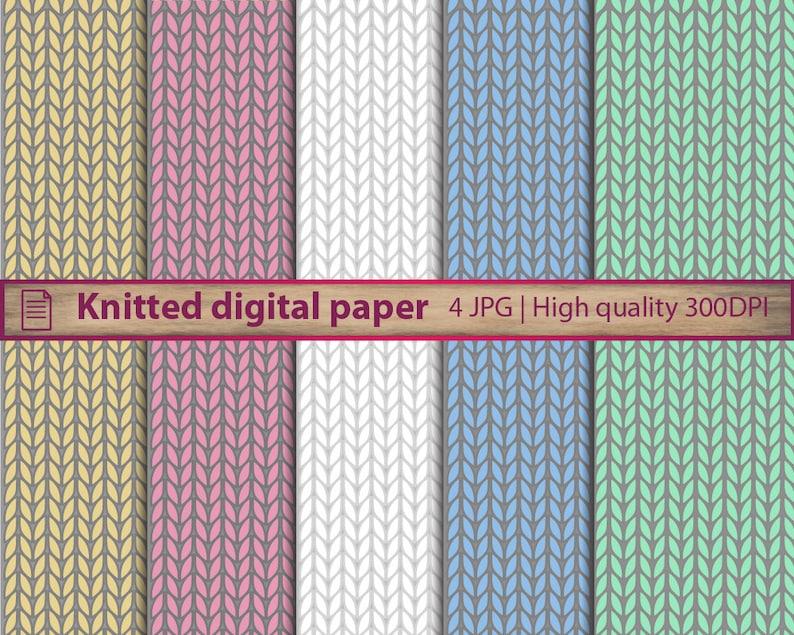 Knitted Digital Paper Knit Pattern Wallpaper Crochet Etsy