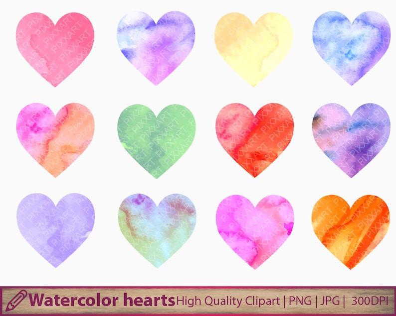romantic graphics scrapbooking Watercolor hearts clipart digital instant download love clip art jpg png 300dpi