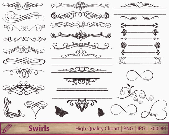 Flourish Wedding Invitations: Wedding Invitation Swirls Clipart Flourish Clip Art