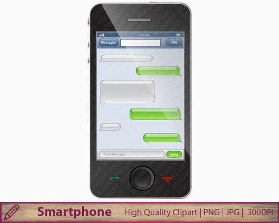 Instant Message Clip Art : Smartphone texting clipart smart phone sms text etsy