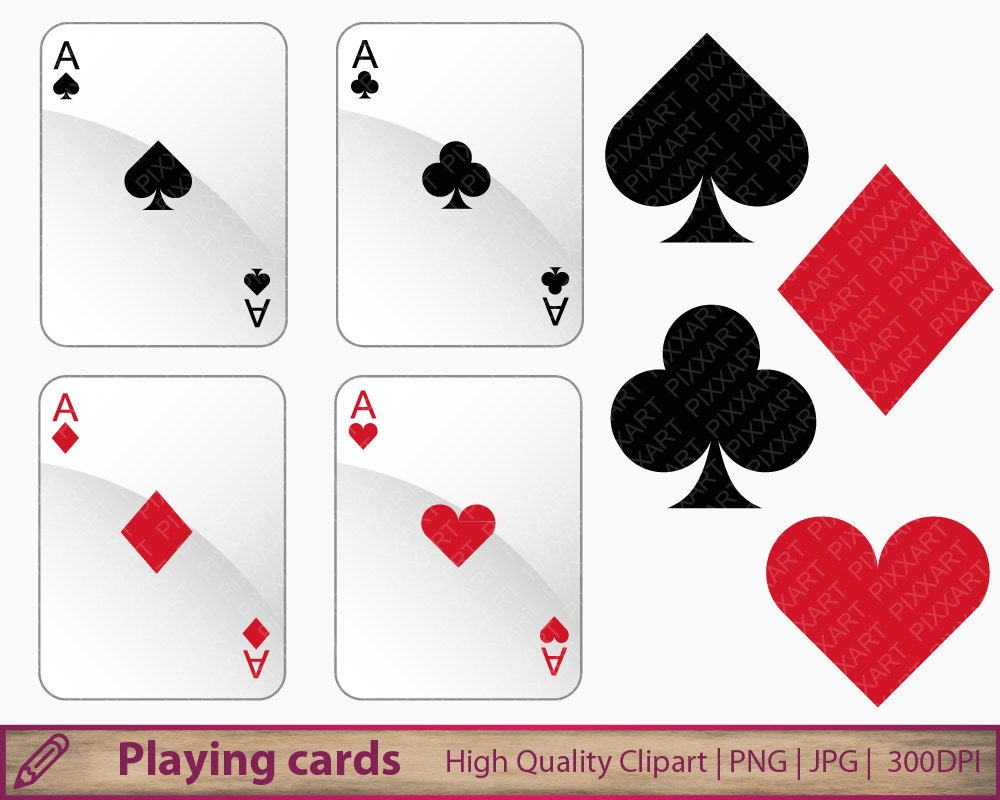 Playing cards clipart, card suits clip art, casino games, commercial use,  scrapbooking, digital instant download, jpg png 300dpi