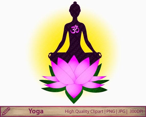 Yoga Clipart Woman Meditation Lotus Flower Clip Art Zen Aum