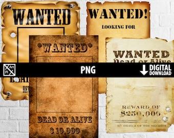 Digital Wanted poster, western cowboy rodeo, printable digital paper, old paper texture, scrapbooking, digital instant download, png 300dpi