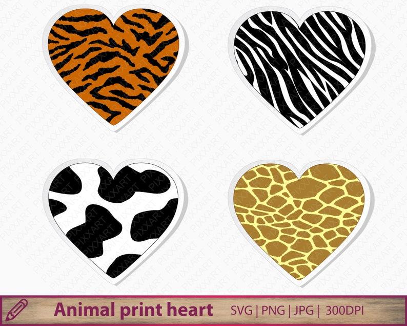 Animal Print Svg Wild Animal Heart Clipart Tiger Giraffe Etsy