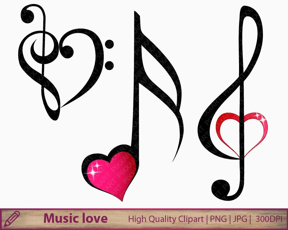 Music clipart music notes clip art music heart love | Etsy