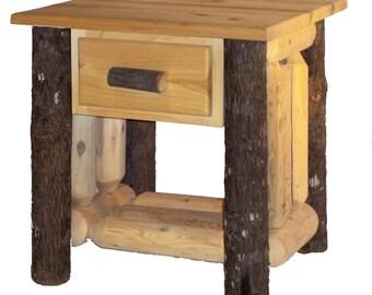 Hickory U0026 Cedar Log End Table W/ Drawer   HC4112