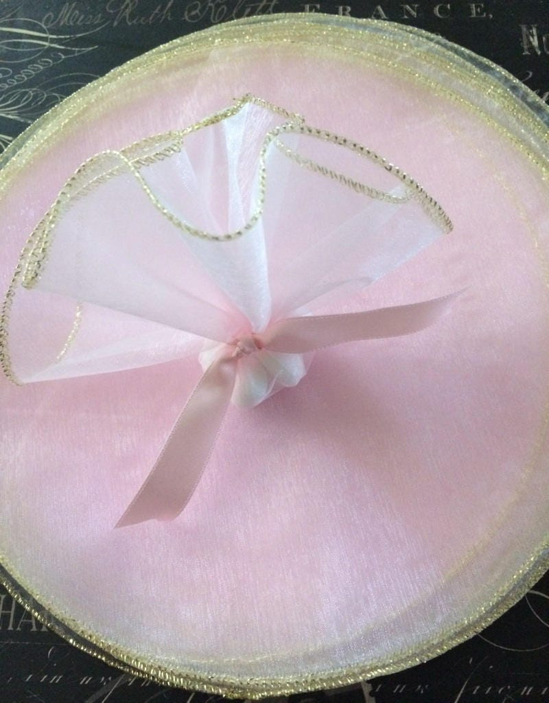 Pink Organza Organdy Tulle Circles With Woven Gold Edge For Etsy