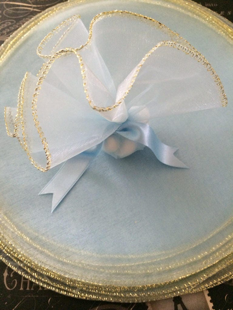 Blue Organza Organdy Tulle Circles With Woven Gold Edge For Etsy
