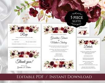 Elegant Marsala Wedding Invitation Set Template,Editable Burgundy Wine Wedding Floral Invites, Bohemian Wedding Invite Set, Rustic Wedding