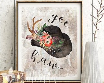 Country and western printable wall decor, Yee haw print, Cowboy hat with flowers printable, Cowboy decor, Cowboy decoration, Cowboy print