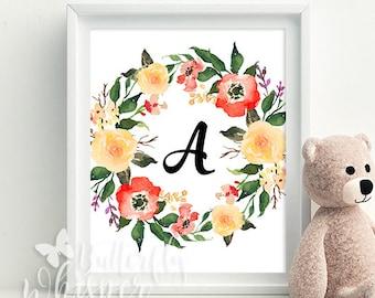 CUSTOM Flower Wreath Initials print, Nursery Room wall art printable decoration, Baby room wall decor, Baby gift, Baby shower gift idea
