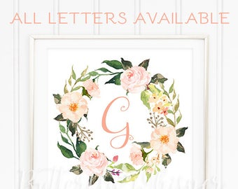 Downloadable Nursery Letter for the wall, Custom Printable Nursery Initials, Personalized wall art, Watercolor Wreath letter, Digital Print