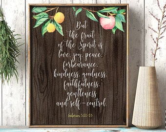 Christian print, Fruit of the spirit wall art, Galatians 5 22, Bible verse print, Scripture wall art, Framed quotes, Verses for the wall