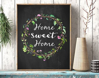 Home sweet home print sign Entrance wall art welcome print decor art home calligraphy quotes printable art calligraphy quote watercolor