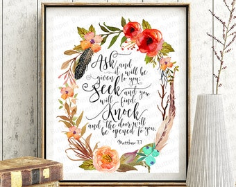 Bible verse wall art scriptute printable, Matthew 7 7, Calligraphy print, Ask and it will be given to you framed canvas Bible quote decor