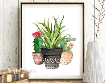 Succulent Printable, Flower Pot Print, Succulent Print, Watercolor Succulent, Botanical Print, Botanical Poster, Botanical Artwork, Tropical