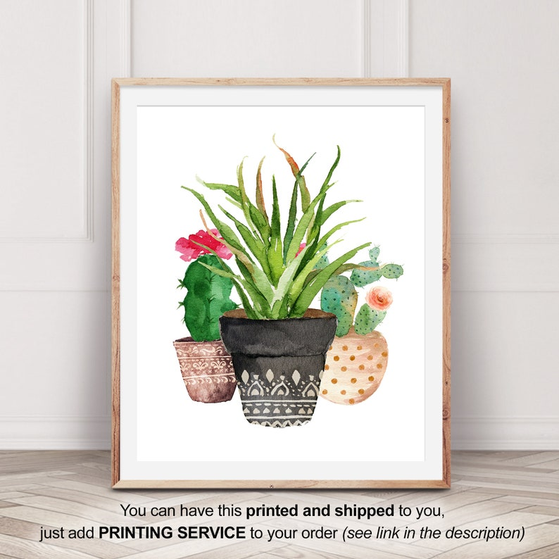 graphic about Flower Pot Printable named Succulent Printable, Flower Pot Print, Succulent Print, Watercolor Succulent, Botanical Print, Botanical Poster, Botanical Art, Tropical