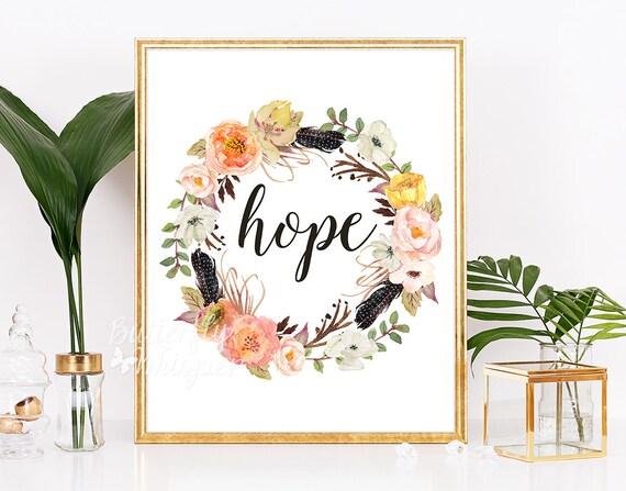 Hope Print Christian Wall Art Bible Verse Wall Art Framed Etsy