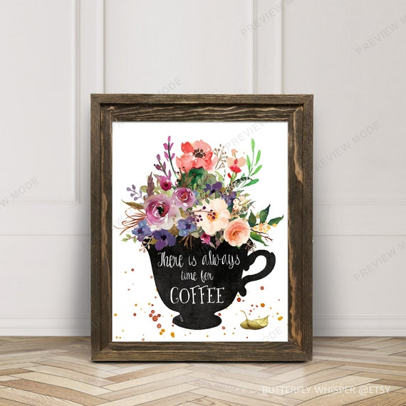 time for coffee print coffee time wall art print decor wall