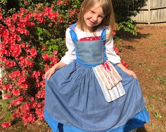 95cc9c4e694 Child Blue Peasant Village Dress Costume Cosplay Inspired by Live Action  Belle 2017 Beauty and the Beast Movie