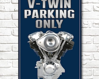 6d973e1f1d V-Twin Parking Only Motorcycles Sign Man Cave Bar Sign Aluminum Custom Blue  Cool