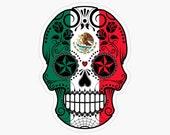 Sugar Skull Flag Of Mexico, Laptop Sticker Bottle Macbook Decal Style 268435