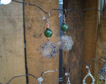 Green mandala earrings