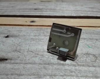 Circuit board pastel square ring