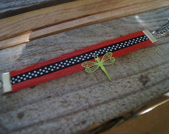 Bracelet red leather with polka dots