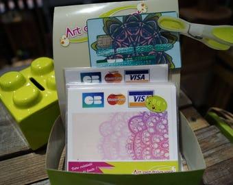 Pink mandala credit card stickers