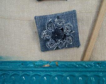 Square denim flower brooch