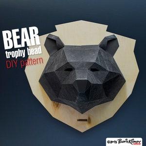 Paper mask. digital pattern for papercraft Gorilla 3d trophy head Model for assembling PDF for A4 DIY layout