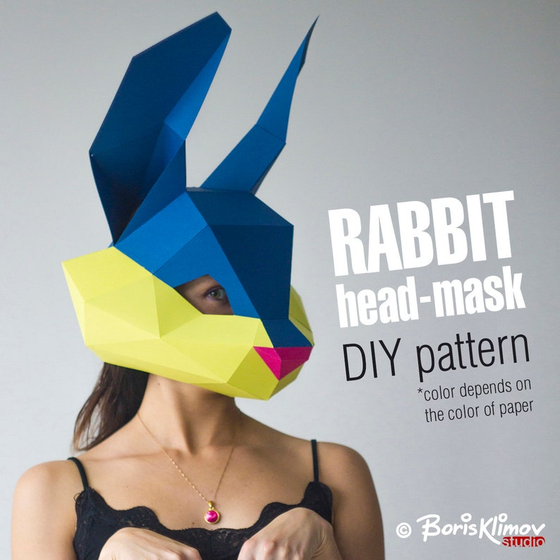 PDF for A4 Paper mask. digital pattern for papercraft DIY layout Model for assembling Cute rabbit 3d head mask