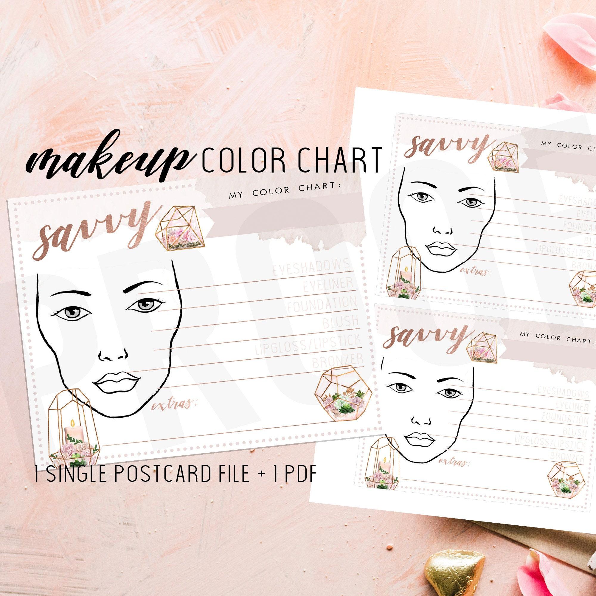 Makeup Color Chart Makeup Face Chart Blank Makeup Cart Etsy
