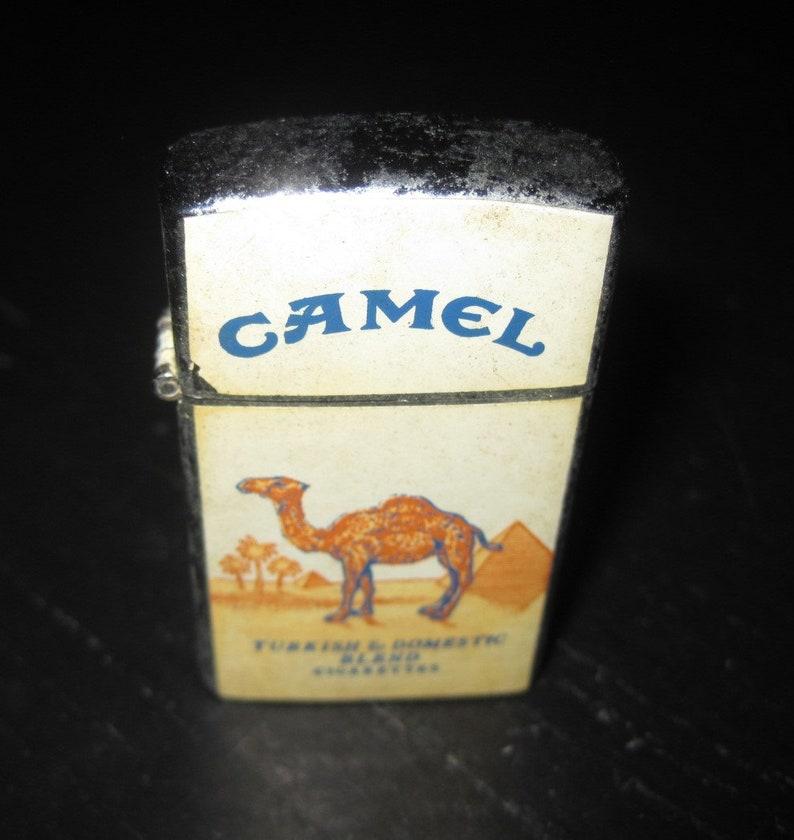 Vintage PENGUIN No 18582 Slim zippo Syle flip Top CAMEL Cigarettes Lighter