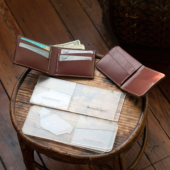 Leather Bi Fold Wallet Acrylic Template Set